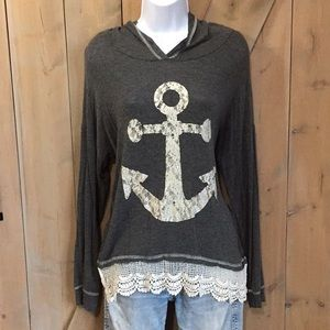 Vanity Sparkling Anchor Hooded Top
